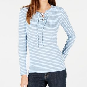 NWT🏷 Michael Kors Ribbed Lace-up Blouse